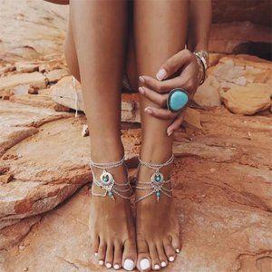 Bohemian Turquoise Stone Silver Anklet Set